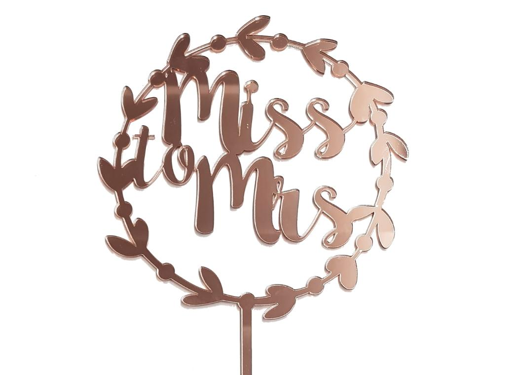 Miss to Mrs Wreath Cake Topper - Rose Gold Mirror