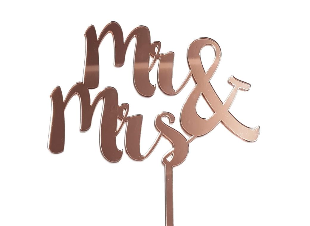 Mr & Mrs Cake Topper - Rose Gold Mirror