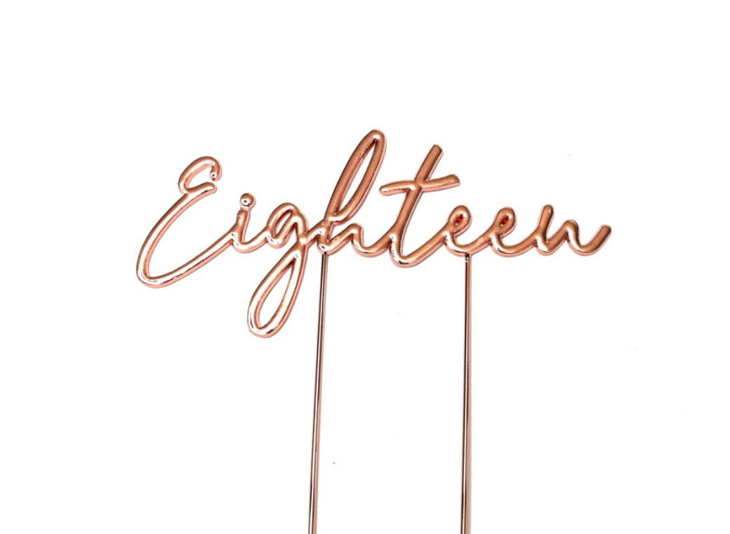 Rose Gold Plated Cake Topper - Eighteen