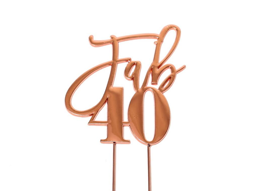 Rose Gold Plated Cake Topper - Fab 40