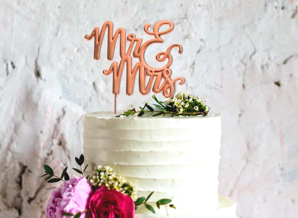 Rose Gold Plated Cake Topper - Mr&Mrs
