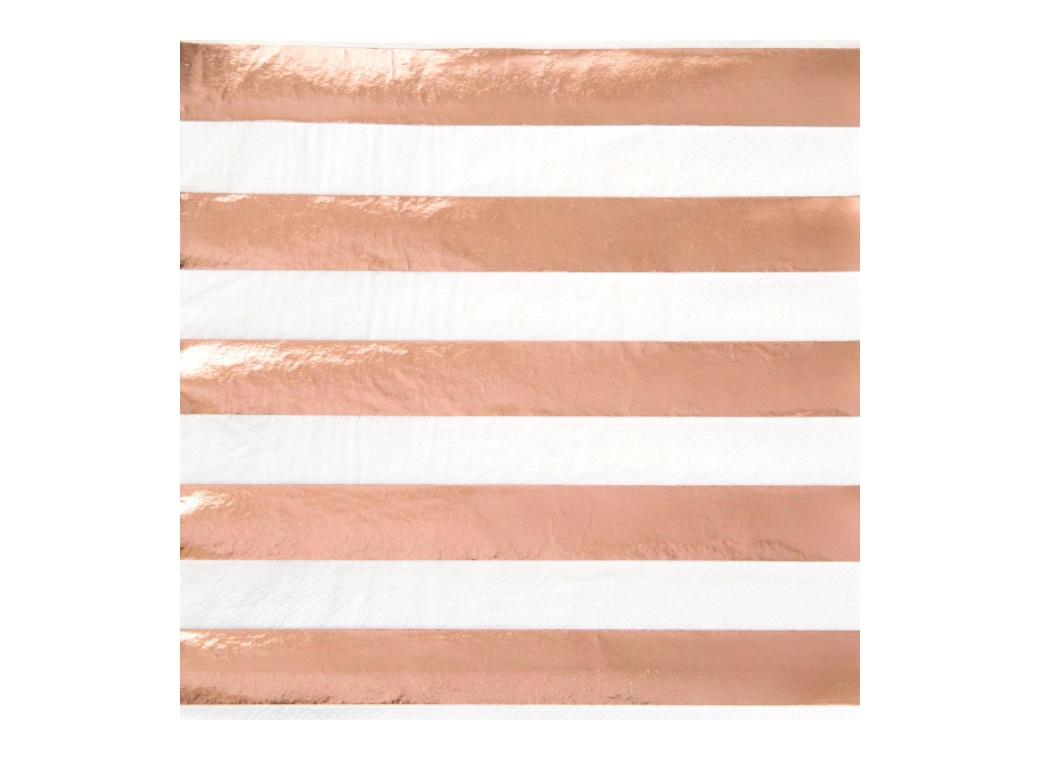 Rose Gold Stripes Lunch Napkins 16pk