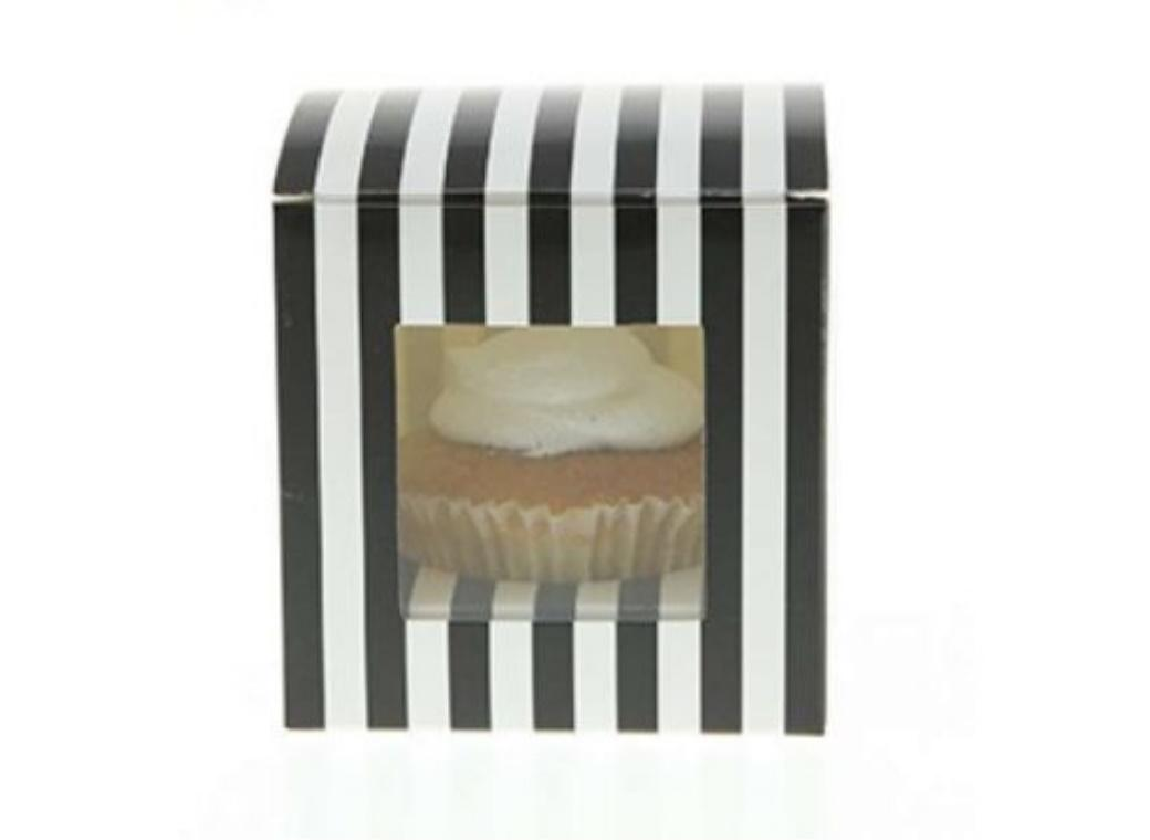 Sambellina Cupcake Boxes 6pk - Black Stripes