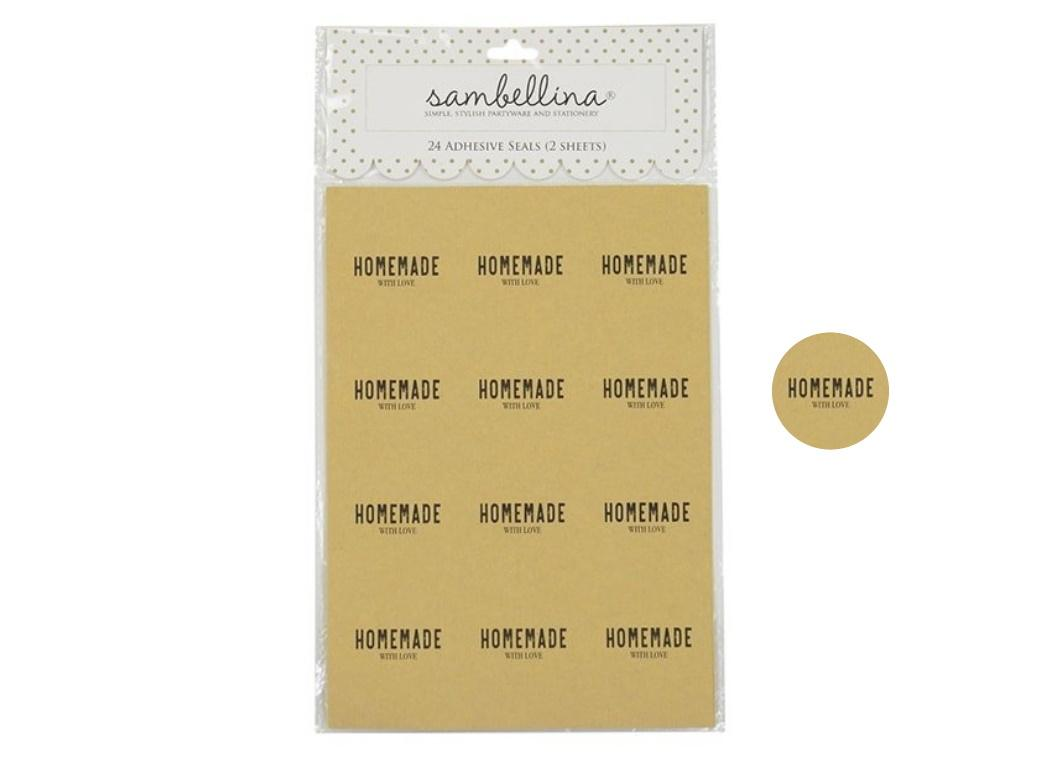 Sambellina Homemade With Love Stickers 24pk - Kraft