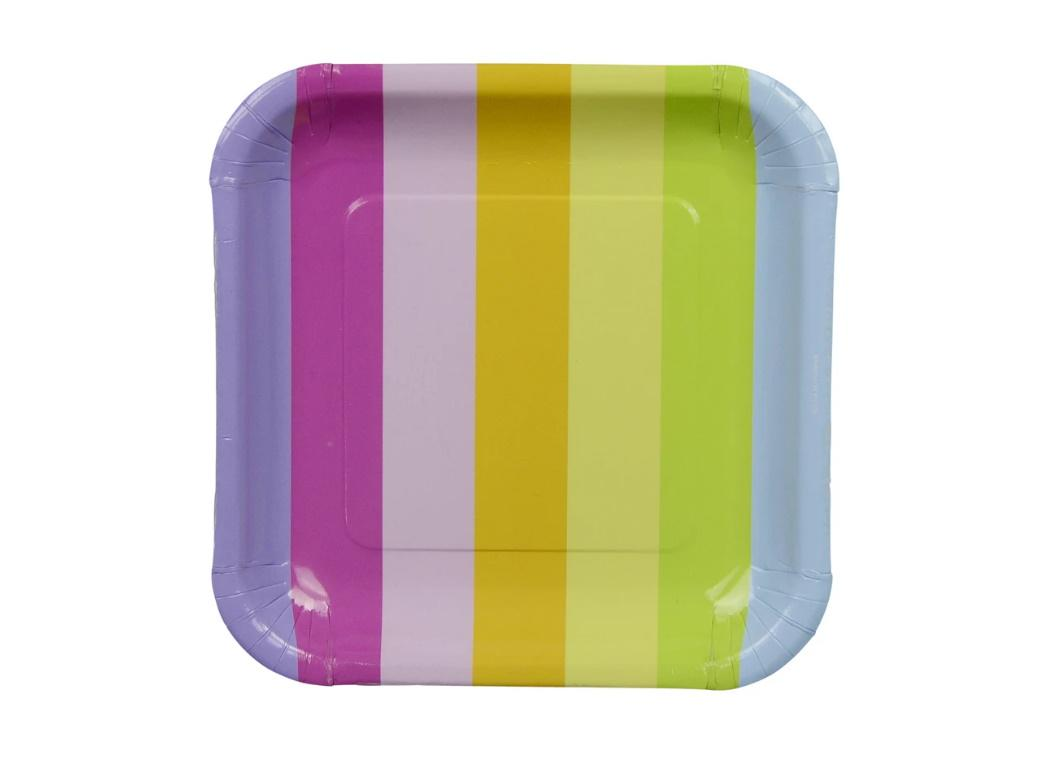 Sambellina Square Plates Rainbow Stripes 12pk
