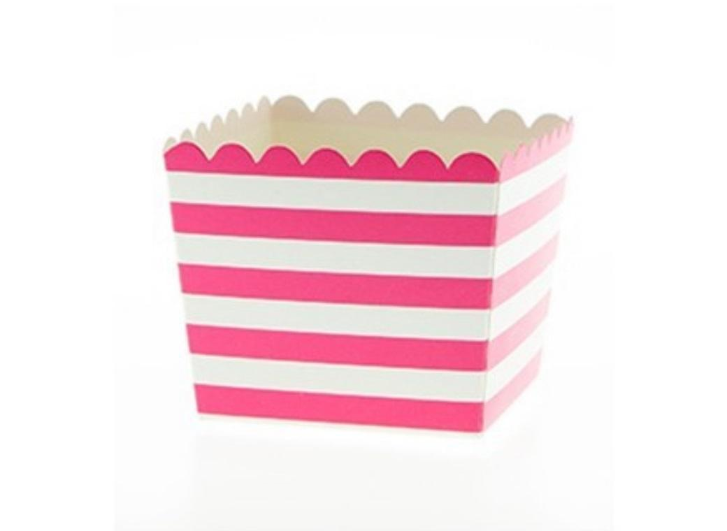Sambellina Raspberry & White Stripes Scallop Favour Box 6pk