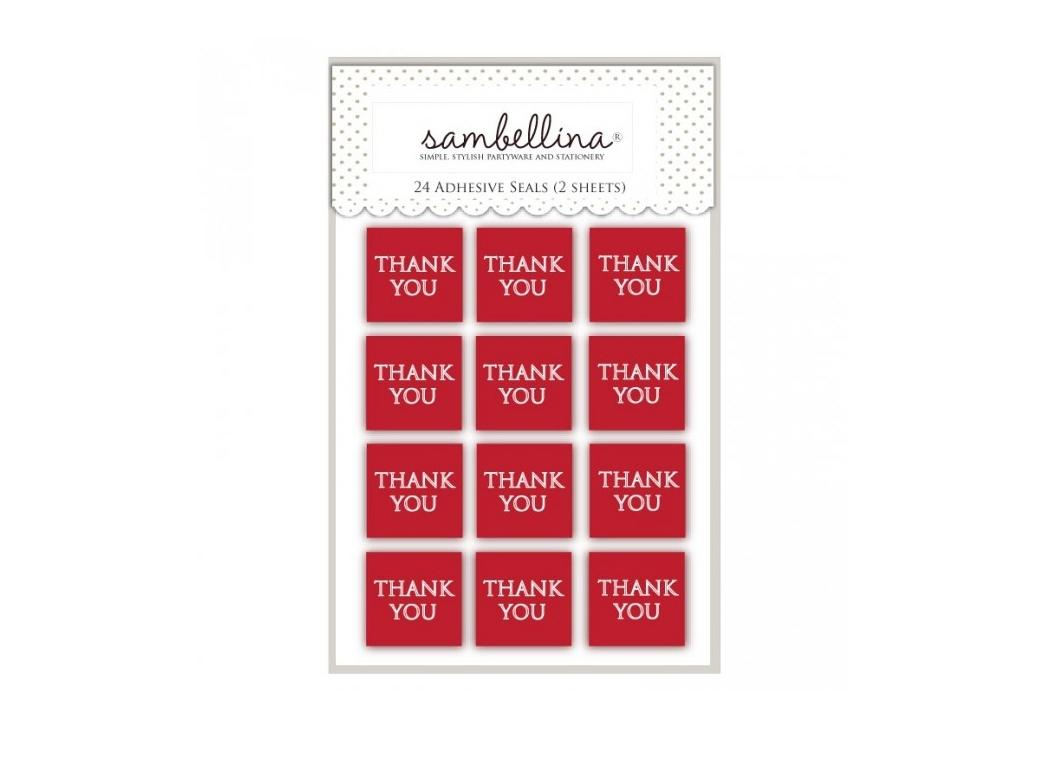 Sambellina Thank You Stickers 24pk - Red