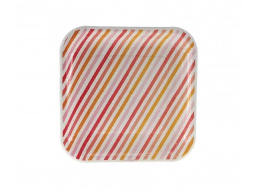 Sambellina Summer Peach Stripe Square Plate