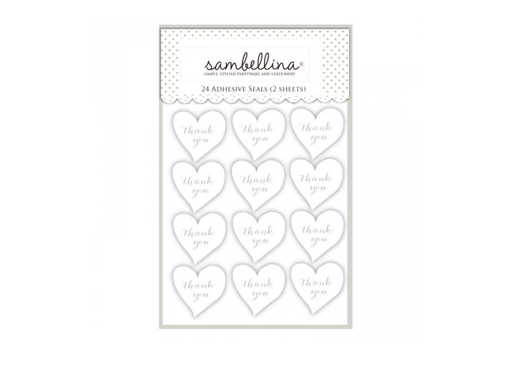 Sambellina Heart Thank You Stickers - White