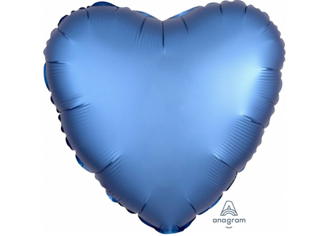Heart Shaped Foil Balloon - Satin Luxe Azure