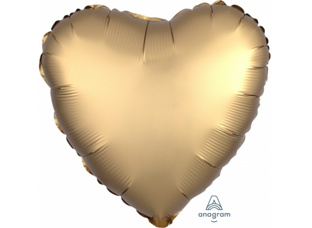 Heart Shaped Foil Balloon - Satin Luxe Gold Sateen