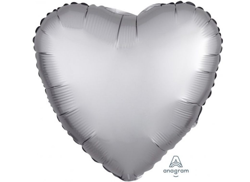 Heart Shaped Foil Balloon - Satin Luxe Platinum