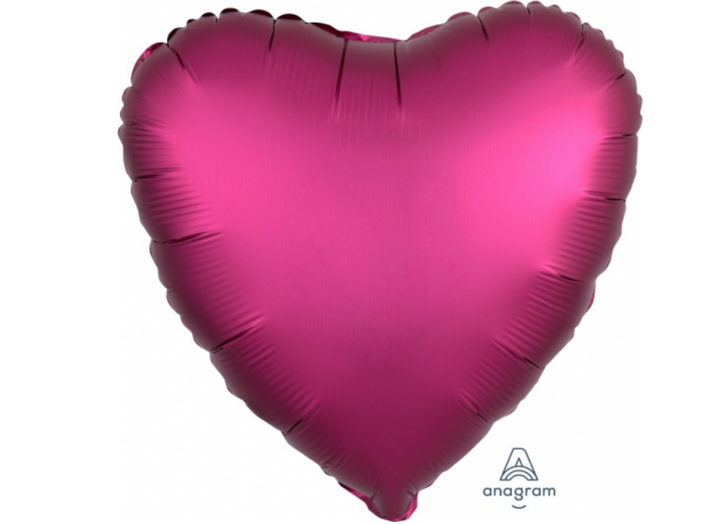 Heart Shaped Foil Balloon - Satin Luxe Pomegranate