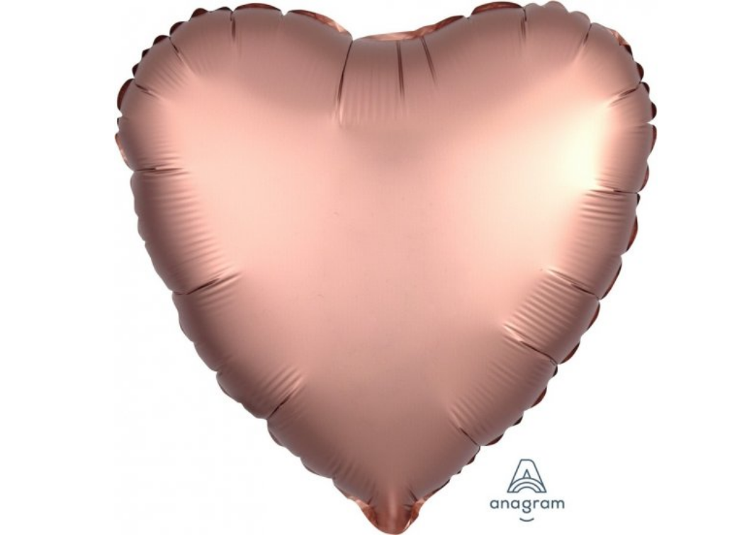 Heart Shaped Foil Balloon - Satin Luxe Rose Copper