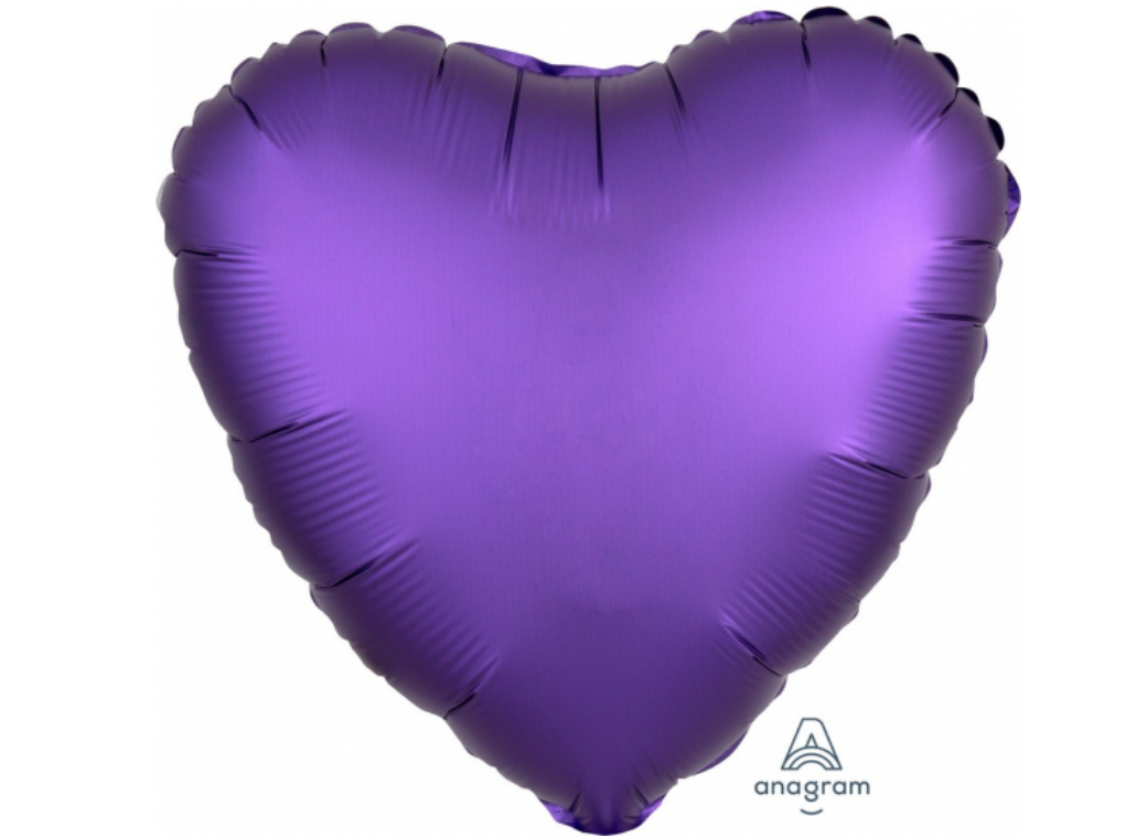 Heart Shaped Foil Balloon - Satin Luxe Purple Royal
