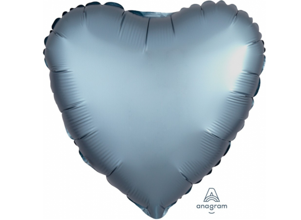 Heart Shaped Foil Balloon - Satin Luxe Steel Blue