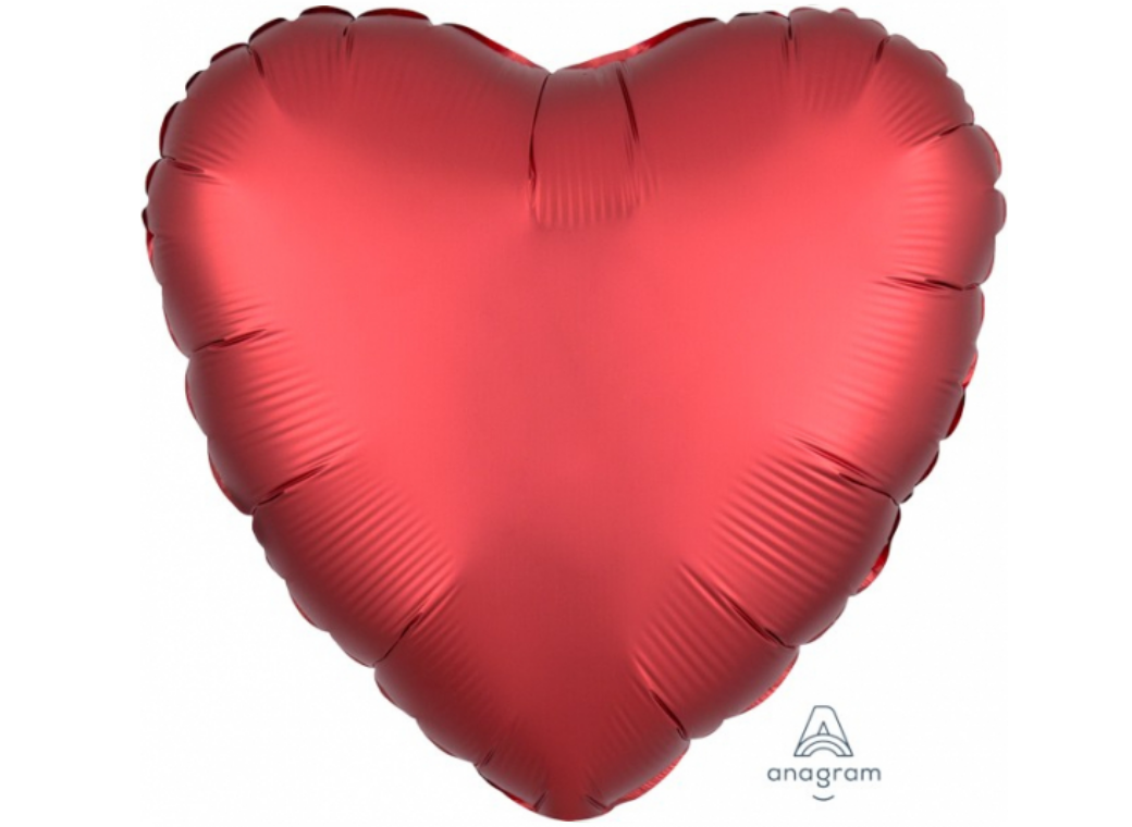 Heart Shaped Foil Balloon - Satin Luxe Sangria