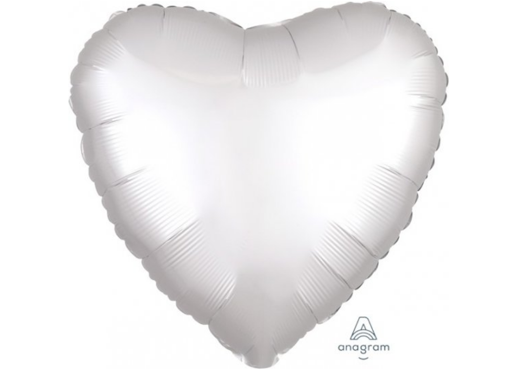 Heart Shaped Foil Balloon - Satin Luxe White