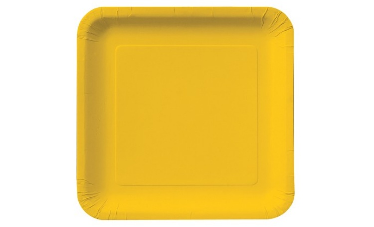 Lunch Plate Sqaure - Yellow 12pk