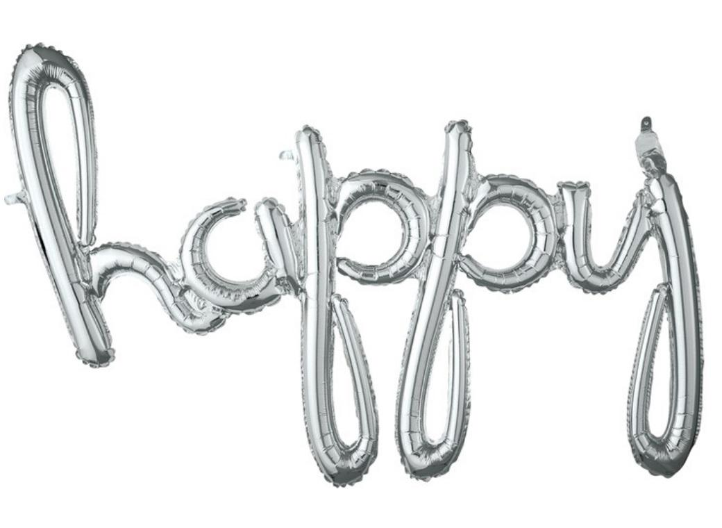 Script Balloon Silver Happy