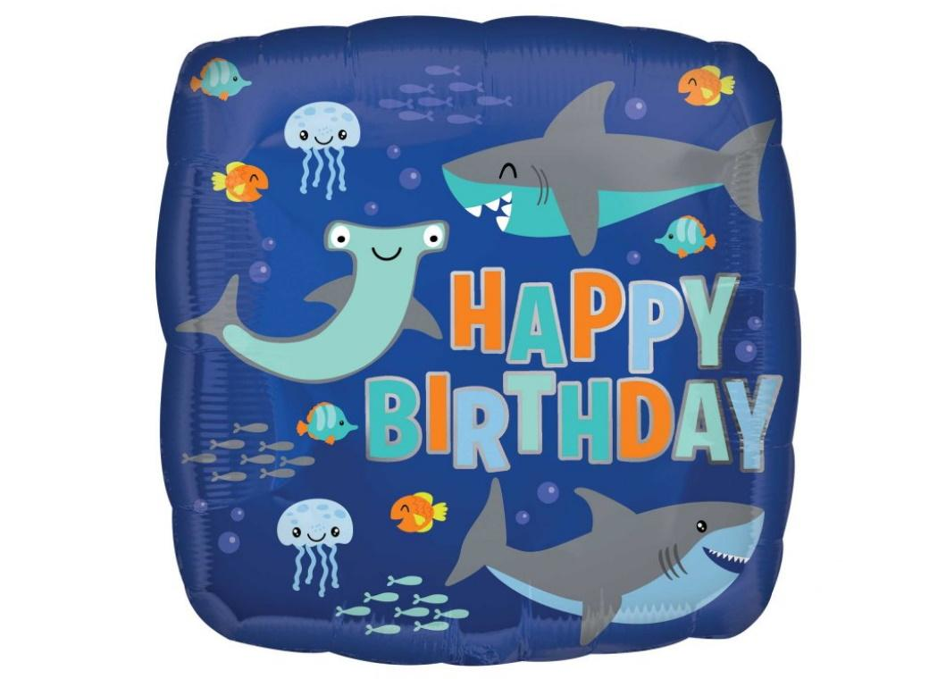 Happy Birthday Sharks Foil Balloon