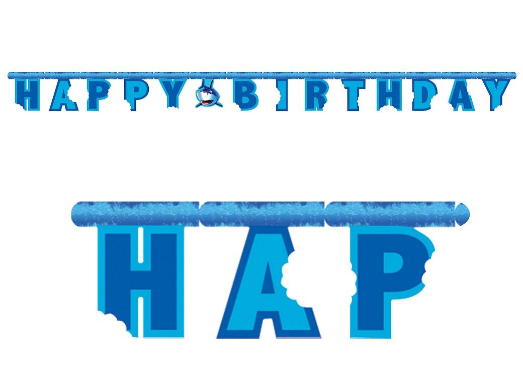 Shark Splash Happy Birthday Banner
