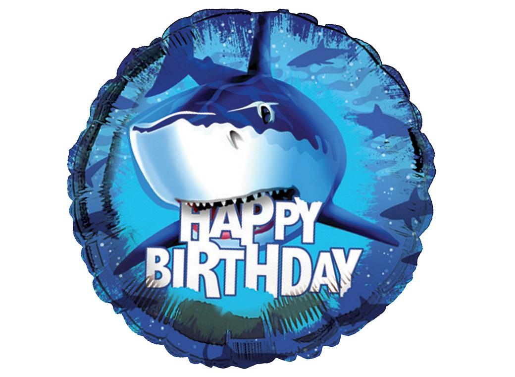 Shark Splash Happy Birthday Foil Balloon