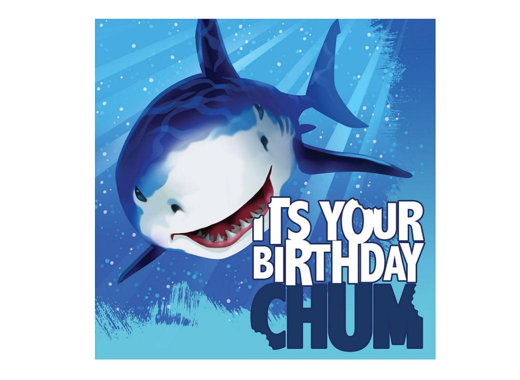 Shark Splash Happy Birthday Lunch Napkins 16pk