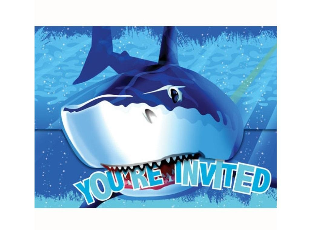 Shark Splash Invitations 8pk