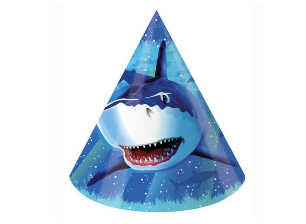 Shark Splash Party Hats 8pk