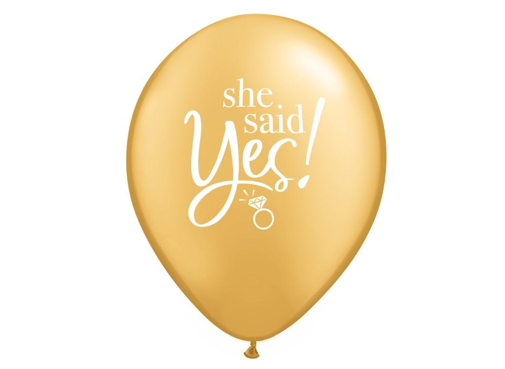 She Said Yes Gold Balloon