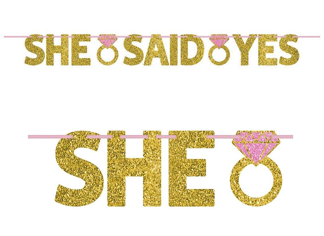 She Said Yes Gold Glitter Banner