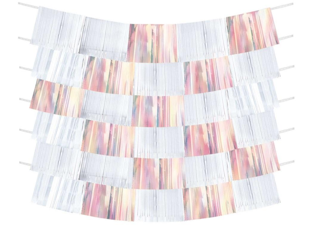 Shimmering Party Iridescent Fringe Banners - White & Pink