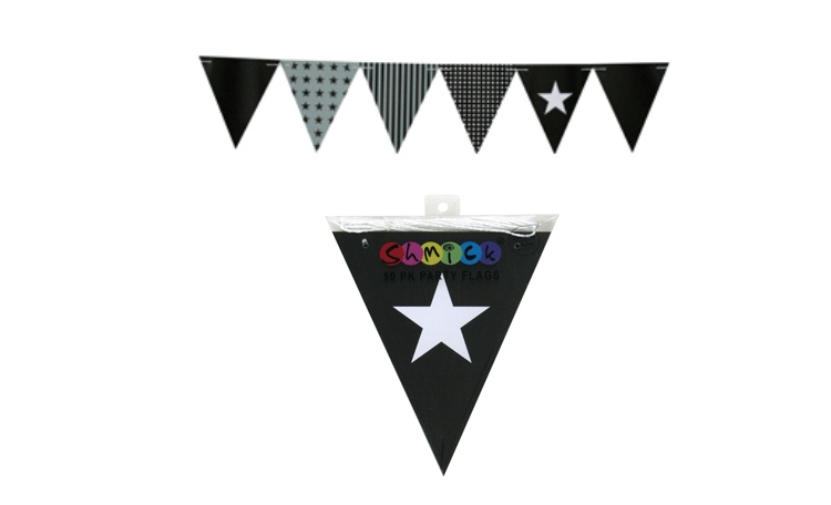 Black Paper Bunting Flags - 50pk