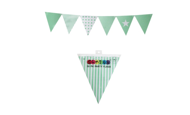 Green Paper Bunting Flags - 50pk