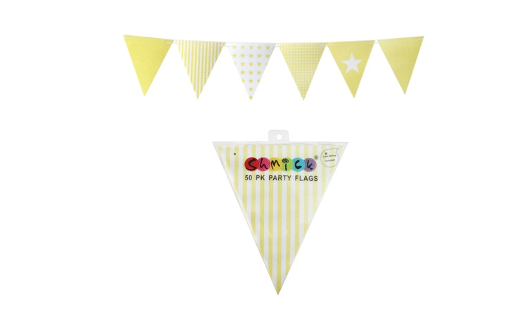 Yellow Paper Bunting Flags - 50pk