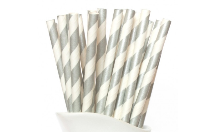 Paper Straws Silver Stripes