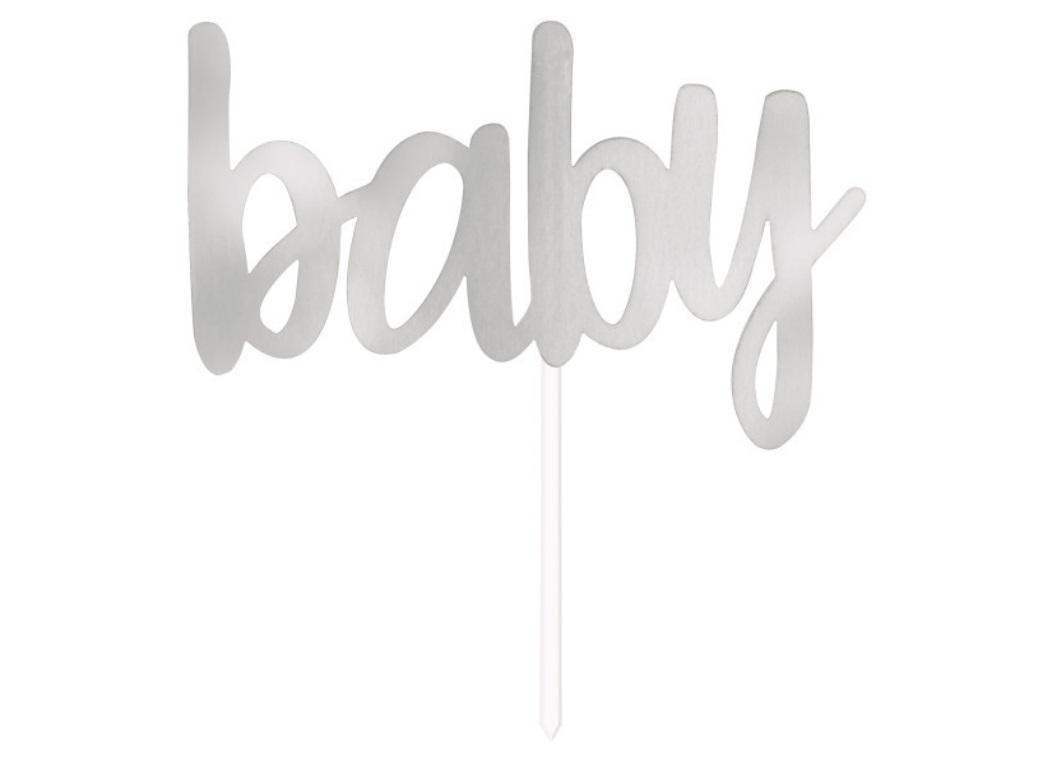 Silver Foil Cake Topper - Baby
