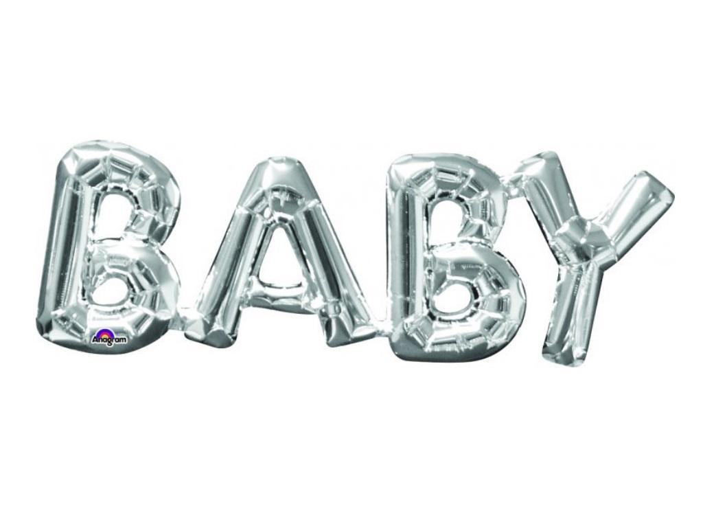 BABY Shape Foil Balloon - Silver