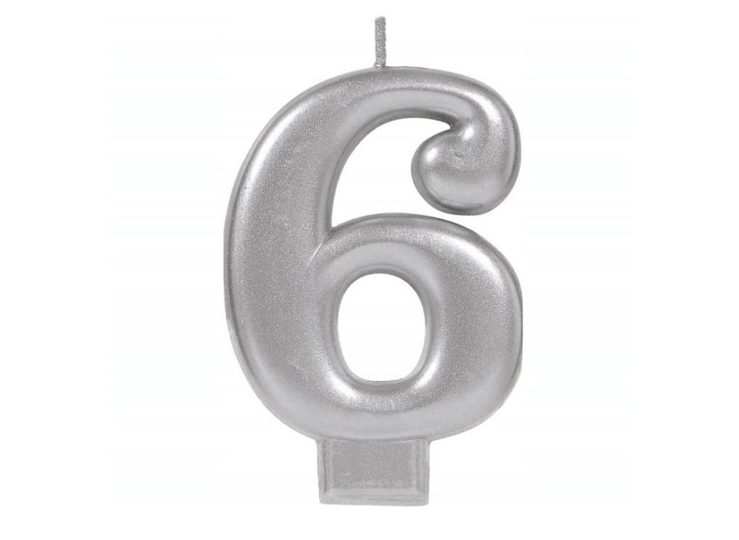 Metallic Silver Candle - Number 6