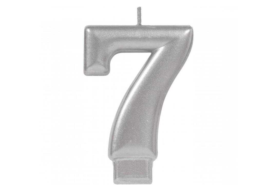 Metallic Silver Candle - Number 7