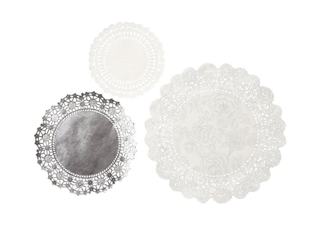 Party Porcelain Silver Doilies 24pk