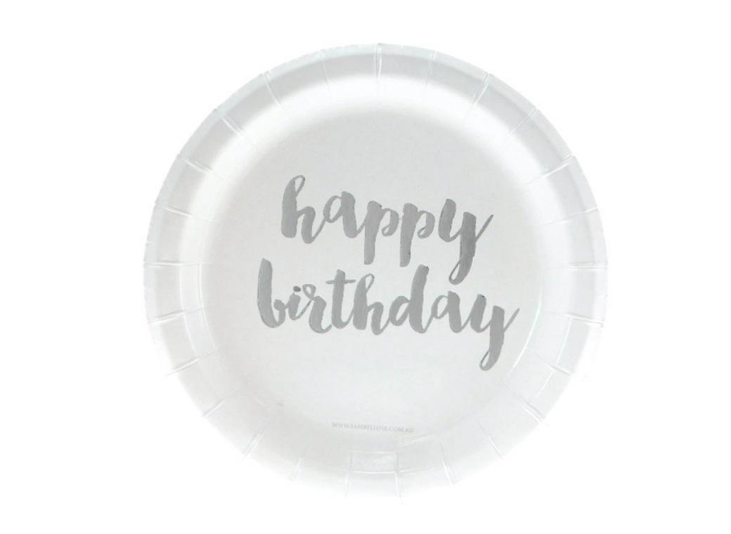 Silver Foil Happy Birthday Cake Plates 12pk