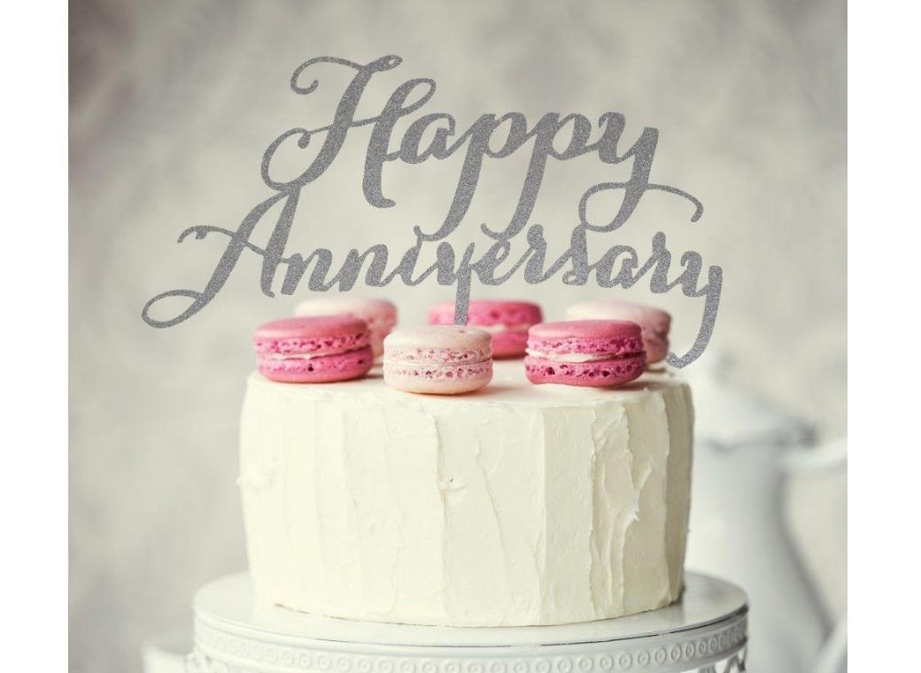 Happy Anniversary Cake Topper - Silver Glitter