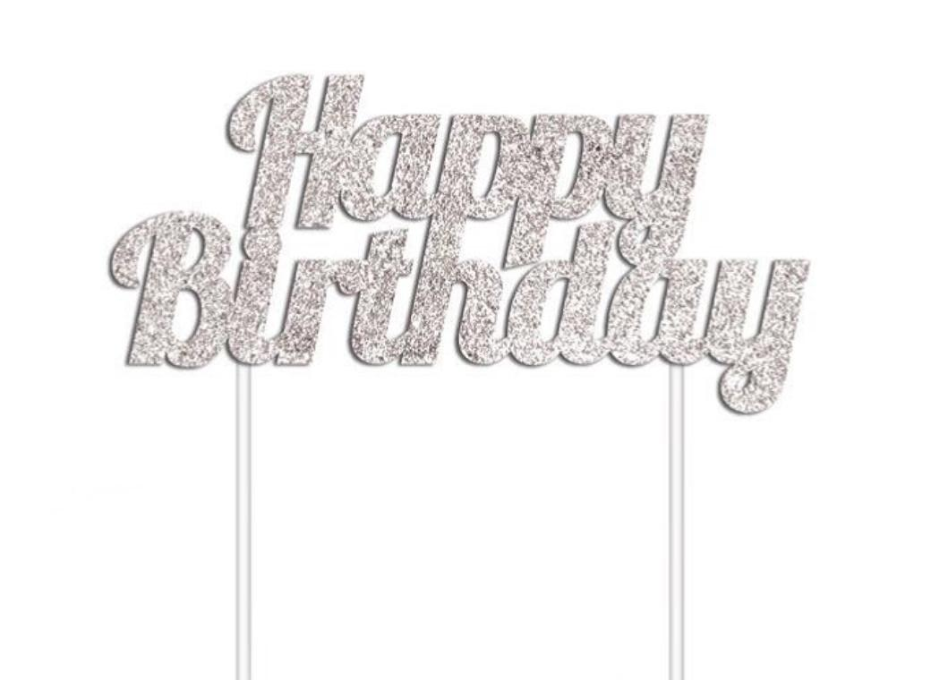 Glitter Cake Topper - Happy Birthday Silver