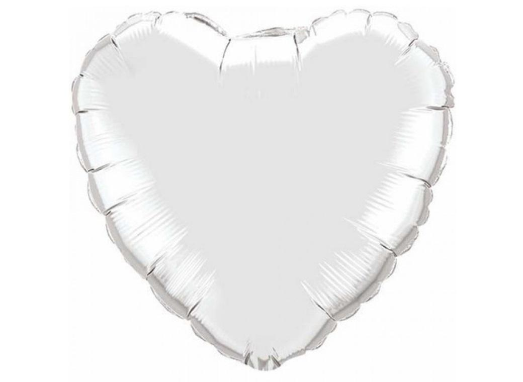 Heart Shaped Foil Balloon - Silver