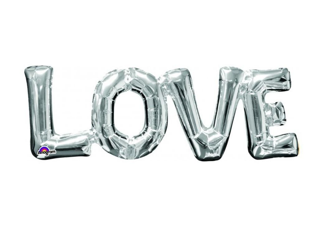 LOVE Shape Foil Balloon - Silver