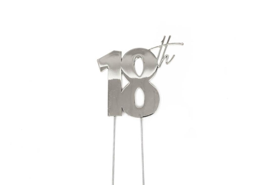 Silver Metal Cake Topper - 18th