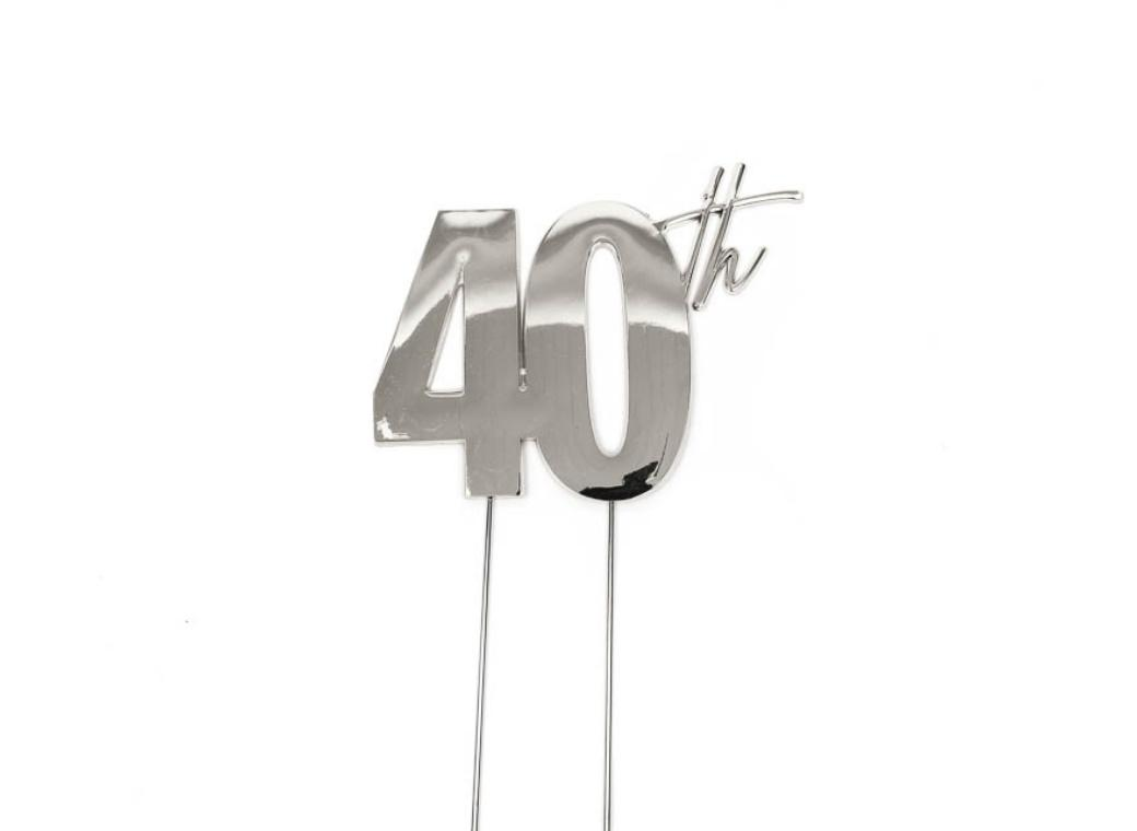 Silver Metal Cake Topper - 40th