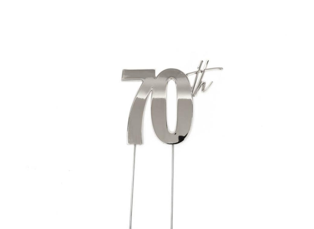 Silver Metal Cake Topper - 70th